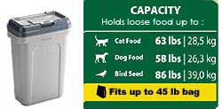 Rubbermaid Pets Scoopn Store Pet Food Storage Container 45 lbs food