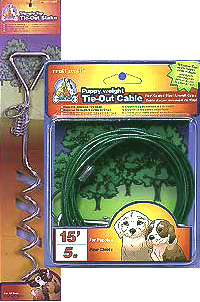 Spiral Stake with 15 Foot Puppy Weight Cable