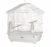 """Venus"" Parakeet Cage, White Epoxy Painted, w/ White Bottom & Tray"