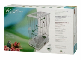 "Vision Medium Bird Cage #M02, 25""x16""x34"", Small Wire, Double Height, Green Perches & Food/Water Dishes"