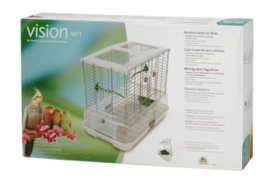 "Vision Medium Bird Cage #M11, 25""x16""x21"", Large Wire, Single Height, Green Perches & Food/Water Dishes"
