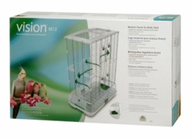 "Vision Medium Bird Cage #M12, 25""x16""x34"", Large Wire, Double Height, Green Perches & Food/Water Dishes"