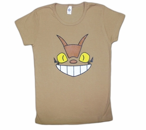 Cheshire Cat Bus (Totoro) Fitted Girl's T-shirt (tan) Medium