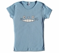 Cheshire Totoro Face Fitted Girl's T-shirt (blue) Small
