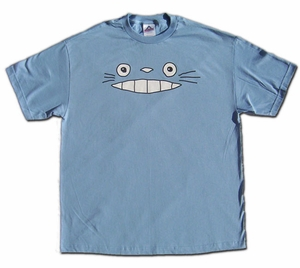 Cheshire Totoro Face T-shirt (blue) XX-Large