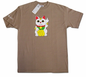 Lucky Cat T-shirt (brown) X-Large