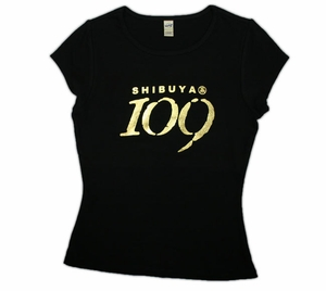 Shibuya 109 Style Fitted Girl's T-Shirt (black) Medium