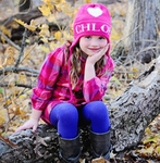 Girls Personalized Heart Hat with Ear Flaps