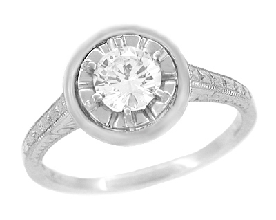 1/2 Carat Diamond Art Deco Solitaire Halo Engagement Ring in 18K White Gold | 1930's Vintage Replica