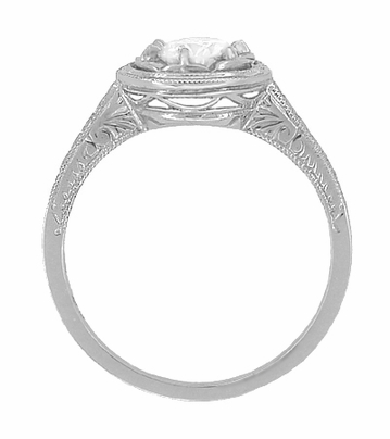 1/2 Carat Diamond Art Deco Solitaire Halo Engagement Ring in 18K White Gold | 1930's Vintage Replica  - Item R306W50 - Image 1