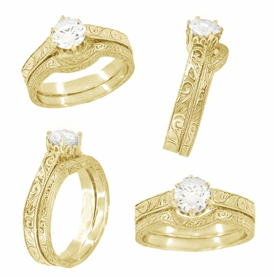 1/3 Carat Crown Filigree Scrolls Art Deco Engagement Ring Setting in 18 Karat Yellow Gold - Item R199Y33 - Image 4