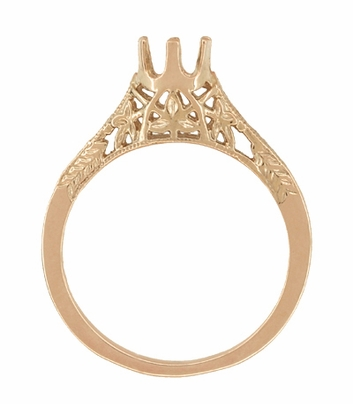 1/4 - 1/3 Carat Crown of Leaves Filigree Art Deco Engagement Ring Setting in 14 Karat Rose Gold - Item R299R25 - Image 1
