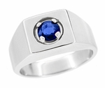 1 Carat Men's Royal Blue Sapphire Ring in 14 Karat White Gold