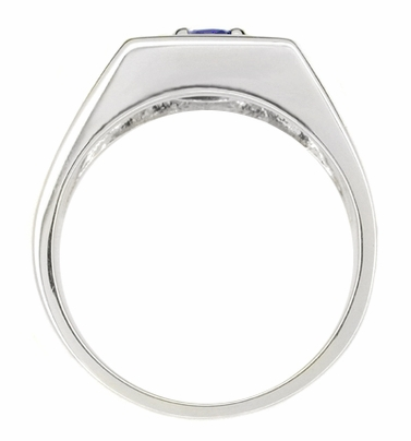 1 Carat Men's Royal Blue Sapphire Ring in 14 Karat White Gold - Item MR102W - Image 1