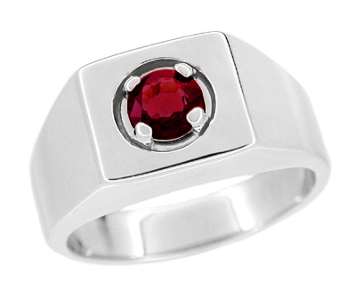 1 Carat Mens Ruby Ring in 14 Karat White Gold | Retro 1950's Vintage Gentlemans Ring Reproduction