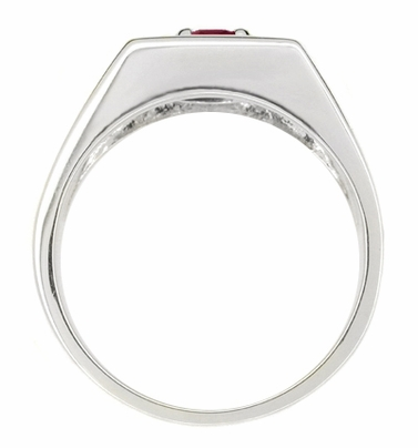 1 Carat Mens Ruby Ring in 14 Karat White Gold | Retro 1950's Vintage Gentlemans Ring Reproduction  - Item MR102WR - Image 1