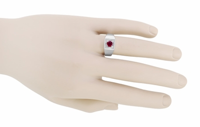 1 Carat Mens Ruby Ring in 14 Karat White Gold | Retro 1950's Vintage Gentlemans Ring Reproduction  - Item MR102WR - Image 2