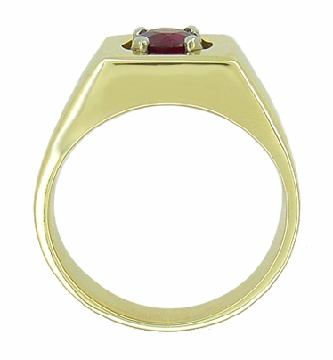 1 Carat Mens Ruby Ring in 14 Karat Yellow Gold | 1950s Vintage Mans Ring Design - Item MR102R - Image 1