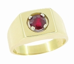 1 Carat Mens Ruby Ring in 14 Karat Yellow Gold | 1950s Vintage Mans Ring Design