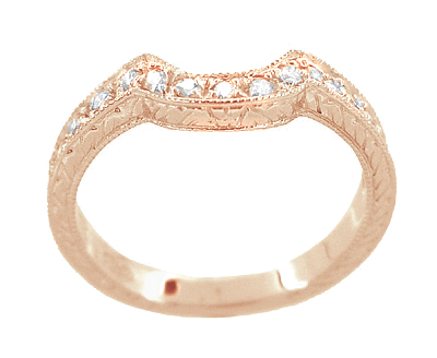 14 Karat Rose ( Pink ) Gold Engraved Wheat and Scrolls Curved Diamond Wedding Band