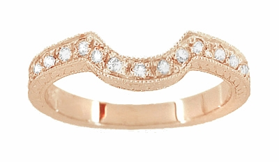 14 Karat Rose ( Pink ) Gold Engraved Wheat and Scrolls Curved Diamond Wedding Band - Item WR178DR - Image 1
