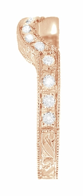 14 Karat Rose ( Pink ) Gold Engraved Wheat and Scrolls Curved Diamond Wedding Band - Item WR178DR - Image 2