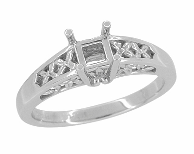 14K White Gold Art Nouveau Flowers and Leaves Filigree Engagement Ring Setting for a 1 Carat Princess, Radiant, or Asscher Cut Diamond - Item R989PR - Image 1
