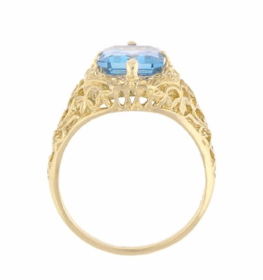14K Yellow Gold Art Deco Swiss Blue Topaz Filigree Ring w/ Flowers & Leaves - December Birthstone - Item R289YBT - Image 1