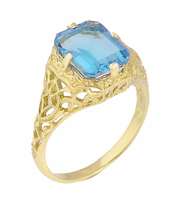 14K Yellow Gold Art Deco Swiss Blue Topaz Filigree Ring w/ Flowers & Leaves - December Birthstone - Item R289YBT - Image 2