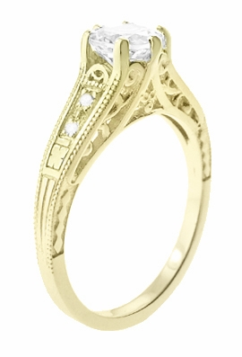 14K Yellow Gold Filigree Art Deco Vintage Style Diamond Engagement Ring - Item R643Y - Image 1