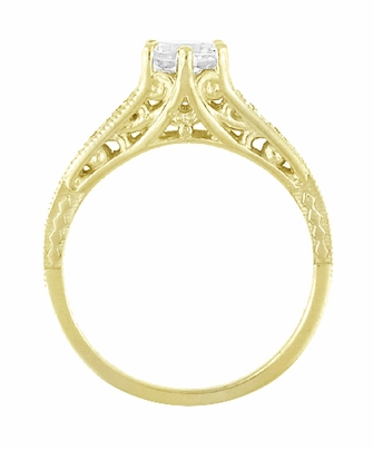 14K Yellow Gold Filigree Art Deco Vintage Style Diamond Engagement Ring - Item R643Y - Image 2