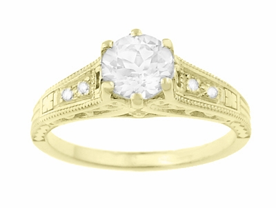 14K Yellow Gold Filigree Art Deco Vintage Style Diamond Engagement Ring - Item R643Y - Image 3