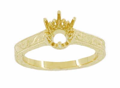 18 Karat Yellow Gold 1 Carat Crown Engagement Ring Setting - Art Deco Engraved Scrolls - 6.5mm - Item R199Y1 - Image 2