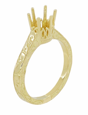 18 Karat Yellow Gold 1 Carat Crown Engagement Ring Setting - Art Deco Engraved Scrolls - 6.5mm - Item R199Y1 - Image 3