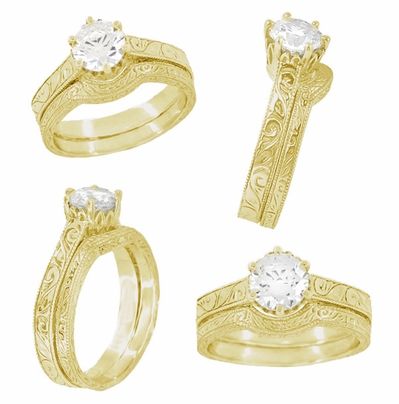 18 Karat Yellow Gold 1 Carat Crown Engagement Ring Setting - Art Deco Engraved Scrolls - 6.5mm - Item R199Y1 - Image 4