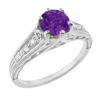 1920's Art Deco Filigree Amethyst Engagement Ring with Diamonds in 14K White Gold - Item R158AM - Image 1