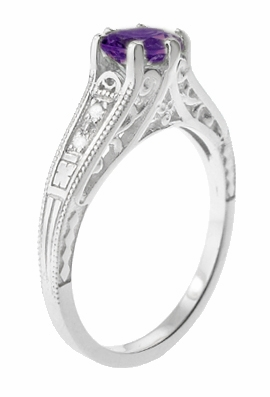 1920's Art Deco Filigree Amethyst Engagement Ring with Diamonds in 14K White Gold - Item R158AM - Image 2