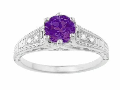 1920's Art Deco Filigree Amethyst Engagement Ring with Diamonds in 14K White Gold - Item R158AM - Image 4