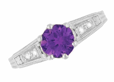 1920's Art Deco Filigree Amethyst Engagement Ring with Diamonds in 14K White Gold - Item R158AM - Image 5