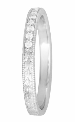 Art Deco Diamond Engraved Wheat Wedding Band in 18 Karat White Gold - Item R858 - Image 2