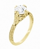 Art Deco 18K Yellow Gold Floral Engraved Filigree 3/4 Carat Vintage Inspired Engagement Ring Setting | 6mm Round Stone Mount