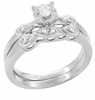 1950's Retro Moderne Diamond Engagement Ring and Wedding Band Set in Platinum - Item R380PS - Image 1