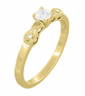 1950s Retro Moderne Certified 1/4 Carat Diamond 14K Yellow Gold Engagement Ring  - Item R380Y25 - Image 1