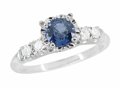 1950s Vintage Inspired Cornflower Blue Sapphire Engagement Ring in 14K White Gold with Side Diamonds - Item R728W - Image 1