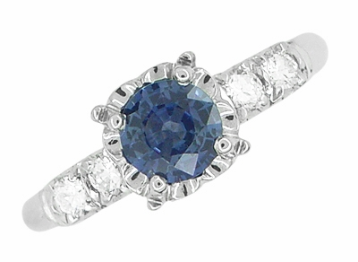 1950s Vintage Inspired Cornflower Blue Sapphire Engagement Ring in 14K White Gold with Side Diamonds - Item R728W - Image 2
