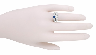 1950s Vintage Inspired Cornflower Blue Sapphire Engagement Ring in 14K White Gold with Side Diamonds - Item R728W - Image 5
