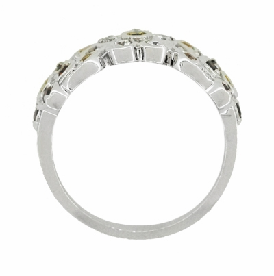 1960's Style Cocoa Brown Diamond, Yellow Diamond, and White Diamond Floral Wedding Band in 14K White Gold - Item R649WD - Image 3