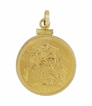 22 Karat Gold King George V British Sovereign Coin Pendant - Item C642 - Image 1