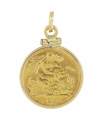 22 Karat Gold Queen Victoria British One Half  Sovereign Coin Pendant - Item C643 - Image 1