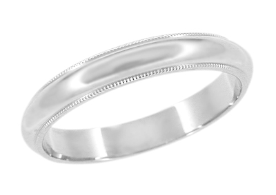 3 mm Wide Millgrain Wedding Band Ring in 14 Karat White Gold